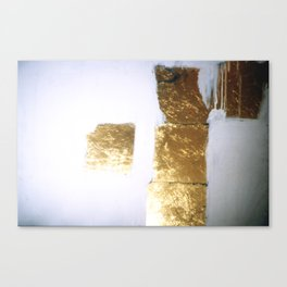 Gold leaf and gesso collage Canvas Print