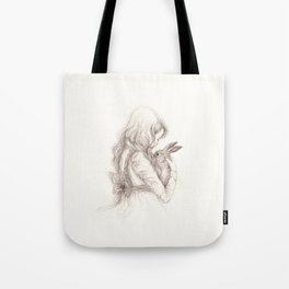 girl with rabbit Tote Bag