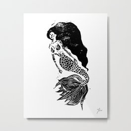 Mermaid Linocut Metal Print
