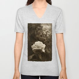 Pink Roses in Anzures 5 Antiqued Unisex V-Neck