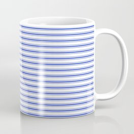 Small Horizontal Cobalt Blue and White French Mattress Ticking Stripes Coffee Mug
