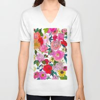 peonies V-neck T-shirts featuring Peonies & Roses by Marcella Wylie
