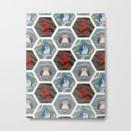Fat Birds Pattern Metal Print