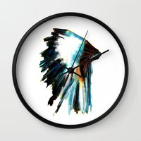 headdress Wall Clocks featuring Headdress by James Peart