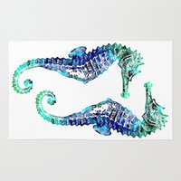 sea horse Area & Throw Rugs featuring Sea Horse by LebensART