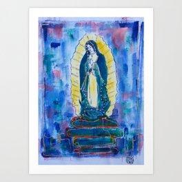 Virgen de guadalupe in blue Art Print