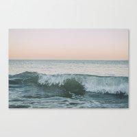Sunset waves crashing Canvas Print