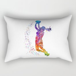 Girl Basketball Player Colorful Watercolor Sports Gift Olympics Game Rectangular Pillow