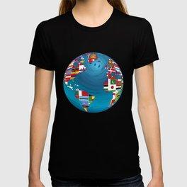 World Map Globe Atlas National Flags Earth Day T-shirt