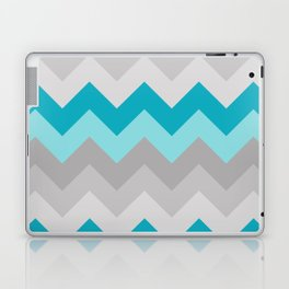 Teal Turquoise Blue Grey Gray Chevron Ombre Fade Laptop & iPad Skin