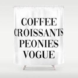 coffee croissants peonies Shower Curtain