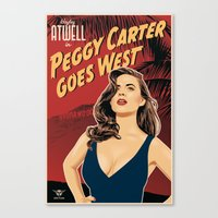 peggy carter Canvas Prints featuring Peggy Carter Goes West by Arne AKA Ratscape