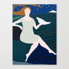 Lady with White Bird Canvas Print