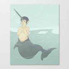 Narwhal Mermaid Canvas Print