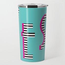 YES Poster | Mint Stripe Pattern Travel Mug