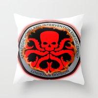 hydra Throw Pillows featuring Hail Hydra by Sdog1982