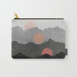Abstract Mountains // Shades of Black and Grey Landscape Full Metallic Gold Moon Carry-All Pouch