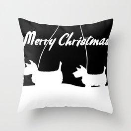 Westie White Christmas Throw Pillow