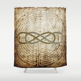 Double Infinity Silver Gold antique Shower Curtain