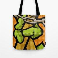 lichtenstein Tote Bags featuring Lichtenstein Pop Martial Art Chelonians | Orange by Butcher Billy