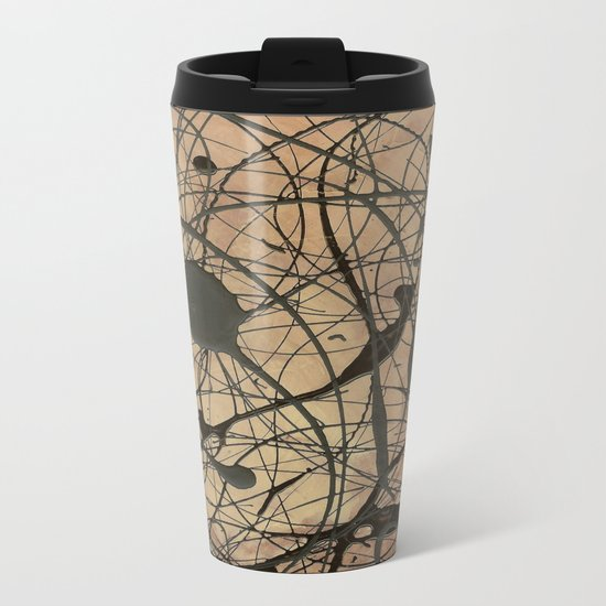 Pollock Inspired Abstract Black On Beige Metal Travel Mug