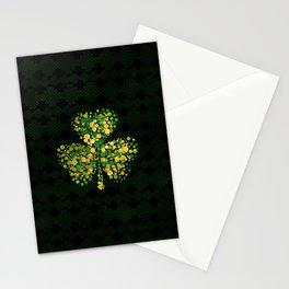 Decorative Irish Shamrock -Clover Gold and Green Stationery Cards
