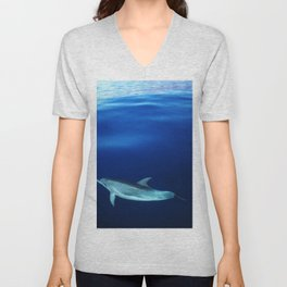 Dolphin, blue and sea Unisex V-Neck
