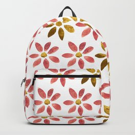 Rose Pink and Gold Hand painted Watercolor Flower Backpack