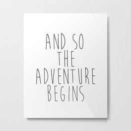 And So The Adventure Begins, Gold Foil Wall Print, Gold Foil Print, Quote Print, Gift For Traveller, Metal Print