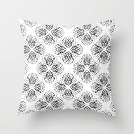 Black and White Doodle Flower Drawing Throw Pillow