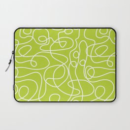 Doodle Line Art | White Lines on Bright Lime Green Laptop Sleeve