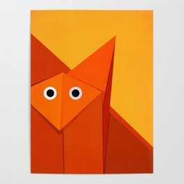 Geometric Cute Origami Fox Portrait Poster