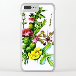 Vintage Wildflowers Thistle Clear iPhone Case