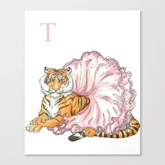 T is for Tiger in a Tutu Canvas Print