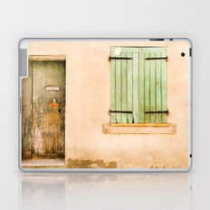 Green wooden door and shuttered window Laptop & iPad Skin