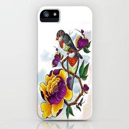Peony Birds iPhone Case