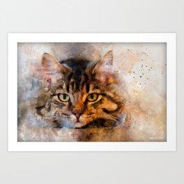 Watercolour cat portrait Art Print
