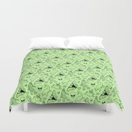 Cryptid Pattern: Black on Green Duvet Cover