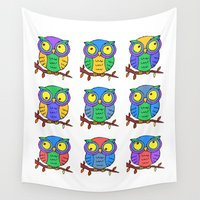 cartoon Wall Tapestries featuring Cartoon Owls by Ron Trickett