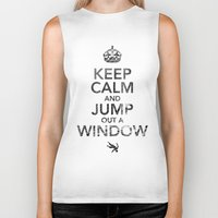 keep calm Biker Tanks featuring Keep Calm by Adrián Peñalver