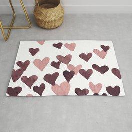 Valentine's Day Watercolor Hearts - dark pink Rug