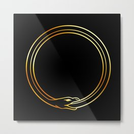 The symbol of Ouroboros snake in gold colors Metal Print