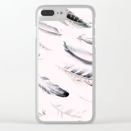Cosmic Feathers Pink Dust Clear iPhone Case