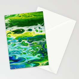 Blue waves and green grass Stationery Cards