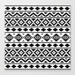 Aztec Essence Ptn III Black on White Canvas Print