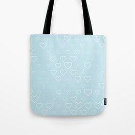 white hears with blue background Tote Bag