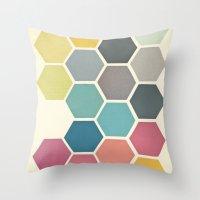 cassia beck Throw Pillows featuring Honeycomb II by Cassia Beck