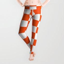 Cheerful Orange Checkerboard Leggings