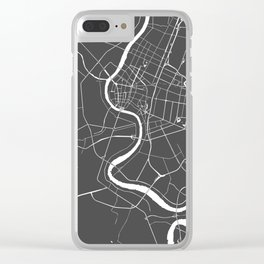 Bangkok Thailand Minimal Street Map - Gray and White II Clear iPhone Case