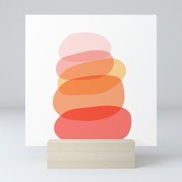 Abstract Organic Shape Tower in Warm Colors Mini Art Print